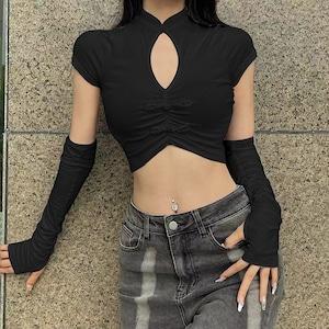 レディーストップス 半袖Tシャツ ショート丈 黒 白 パンク ロック カジュアル セクシー ダンスウェア9080