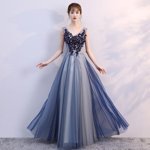 【送料無料】ロング丈 花 Vネック ノースリーブ フレア 編み込み 御呼ばれ 発表会 上品 ファッション エレガント(B420)