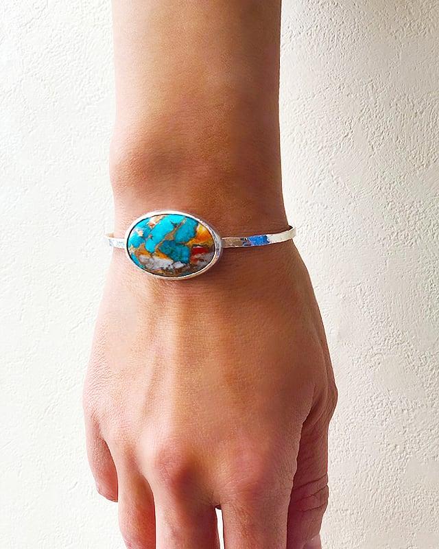 Copper turquoise silver bangle / big