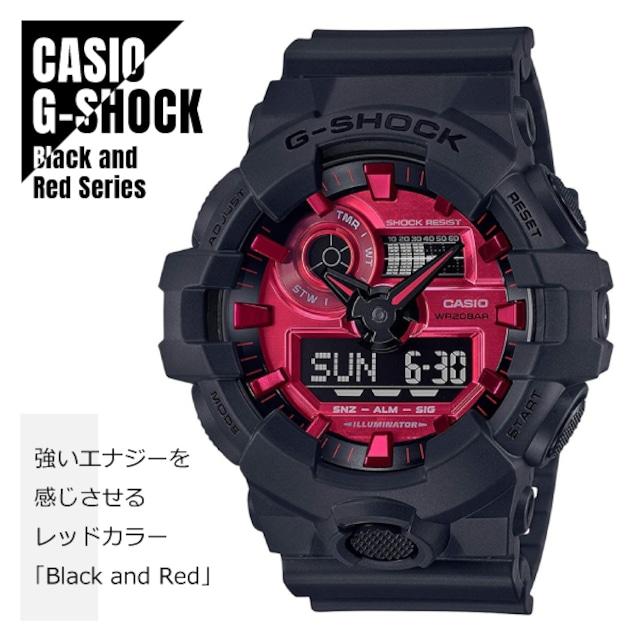 【即納】CASIO カシオ G-SHOCK G-ショック アナデジ ダイナミックなスタイリング GA-700AR-1A ブラック&レッド 腕時計 メンズ