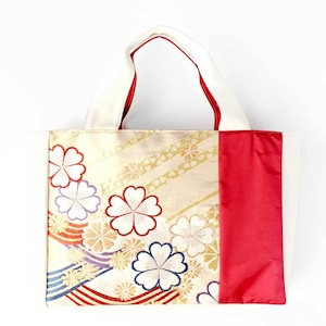 【送料無料】帯トートバッグ 金・波・桜紋様