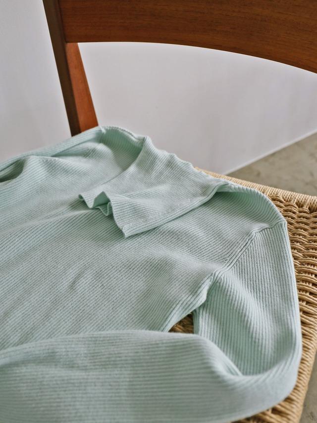 color rib turtle knit(aqua)
