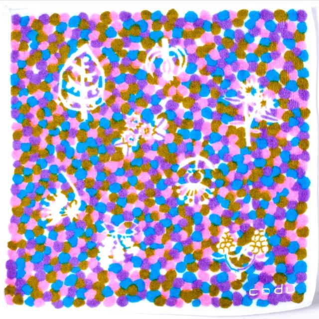 ひびのこづえ ミニタオル 色々 / パープル 25x25cm 無撚糸 綿100% 日本製 KH16-06