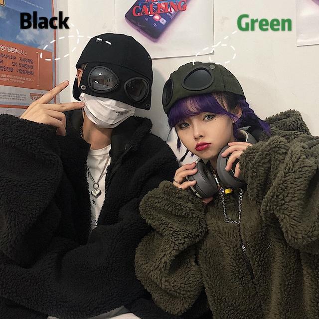 【都谷シリーズ】★帽子★ 2color 黒or緑 ぼうし 小物 男女兼用 メガネ付き 個性的 流行 ブラック グリーン