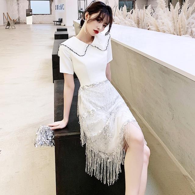 パーティードレス ロングドレス お誕生日 成人式 結婚式 演奏会 発表会 二次会 プレゼント XS S M L LL 3L 4L 気質良い レトロ スリム 半袖 ホワイト 白い Vネック スパンコール フリンジ