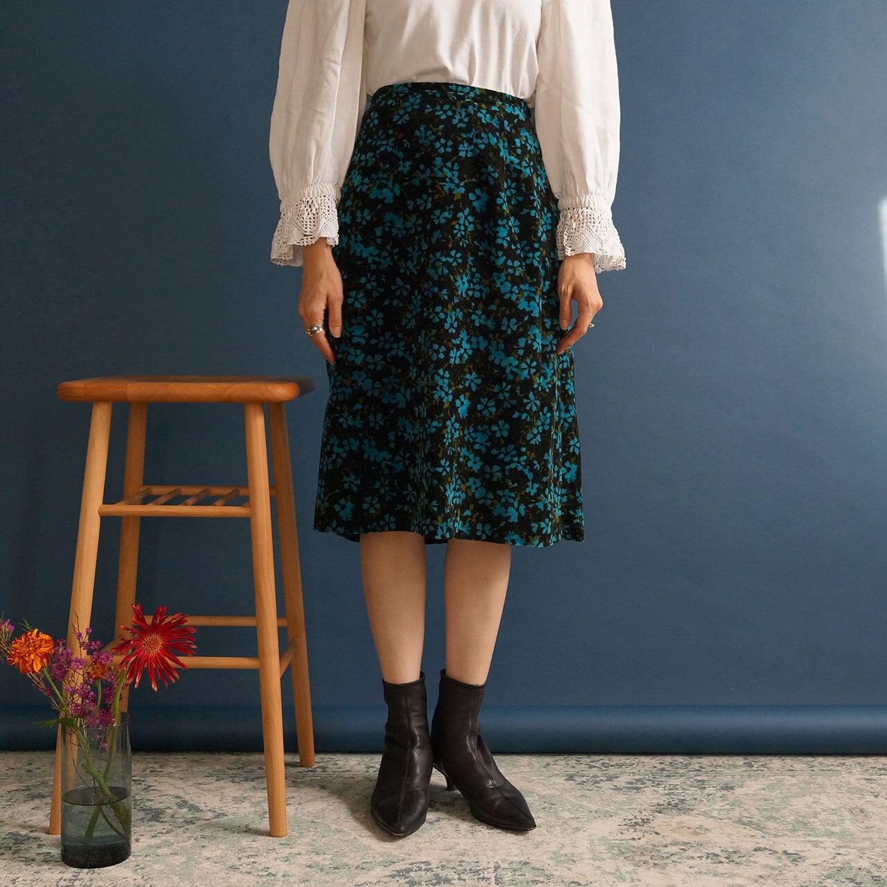 【送料無料】70's Vintage Floral Print Midi Skirt