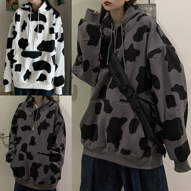 ユニセックス プルオーバー パーカー メンズ レディース 牛柄 プラスベルベット オーバーサイズ ルーズ 大きいサイズ ストリート TBN-626250018028