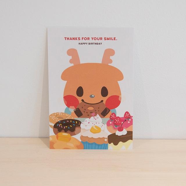 誕生日ポストカード_THANKS FOR YOUR SMILE.