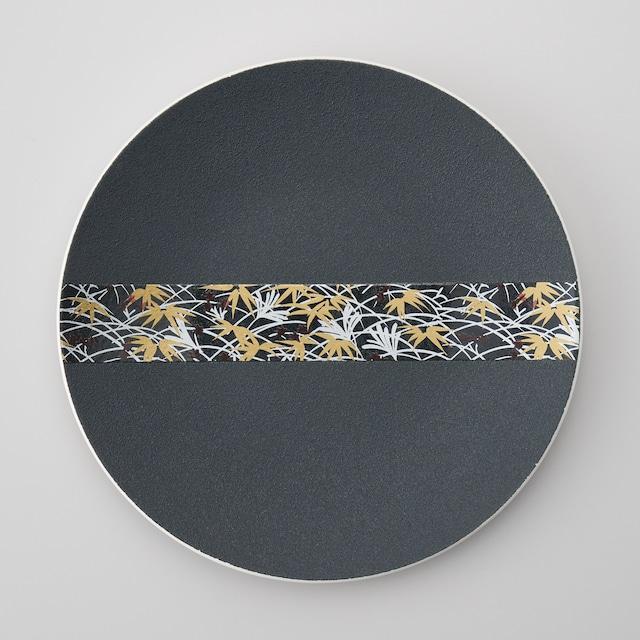 【古千窯】黒和紙雲母彩色28㎝丸皿(強化磁器)