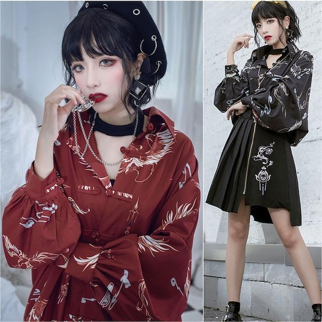 【卿棠シリーズ】★チャイナ風シャツ★ 2color オリジナル プリント 黒 赤い メンズ カップル服