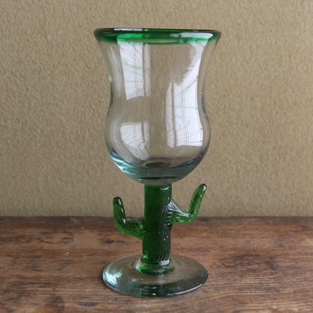 サボテン 泡入りグラス 在庫2脚
