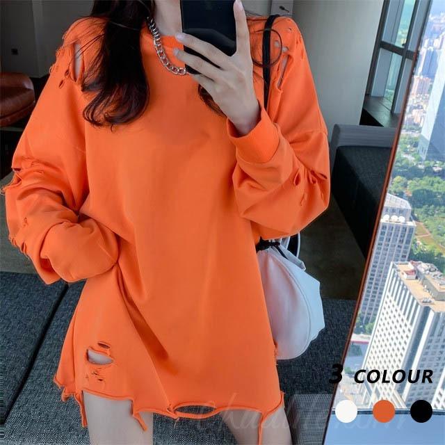【トップス】韓国系ラウンドネック長袖ダメージ加工プルオーバーTシャツ36195102