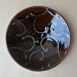 笠原良子 飴釉筒描皿 6.5寸(yk-18)
