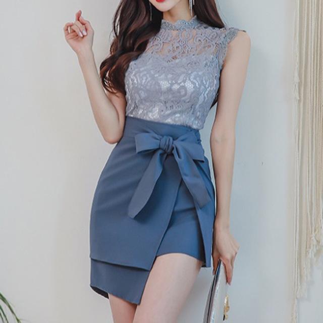 ✿大人気商品✿  セットアップ 3点セット レーストップス 不規則 ミニスカート S M L LL 韓国風 ブルー 青い 気質アップ