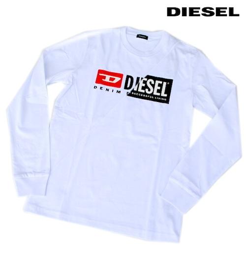 DIESEL ディーゼル Tシャツ 長袖 プリント Tシャツ ロンT メンズ T-DIEGO-LS-CUTY WHITE 2020 秋モデル 送料無料