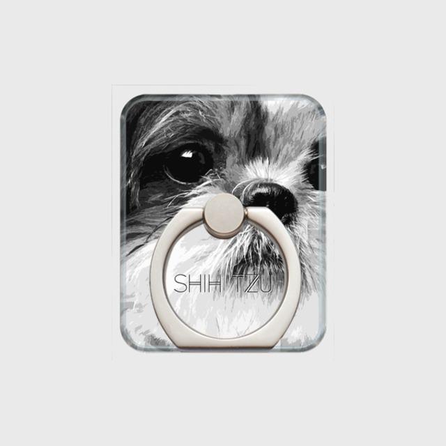 シーズー おしゃれな犬スマホリング【IMPACT -shirokuro- 】