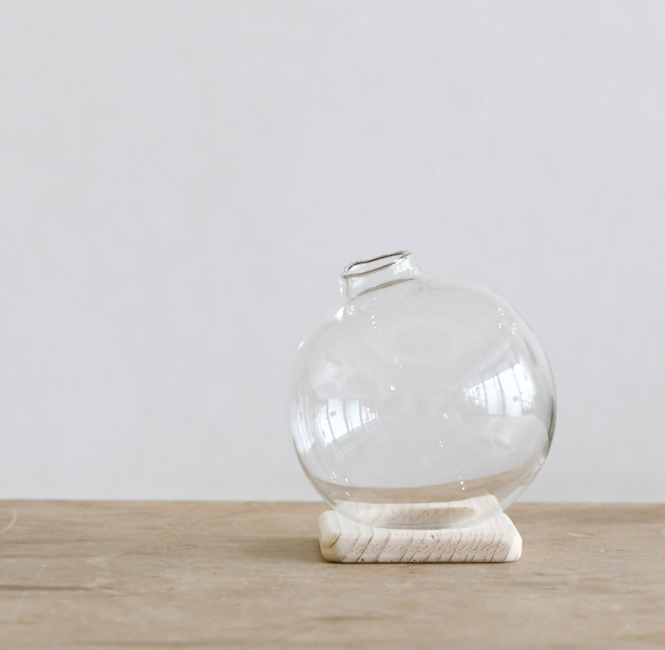 【ガラス容器】球体 木製台付き