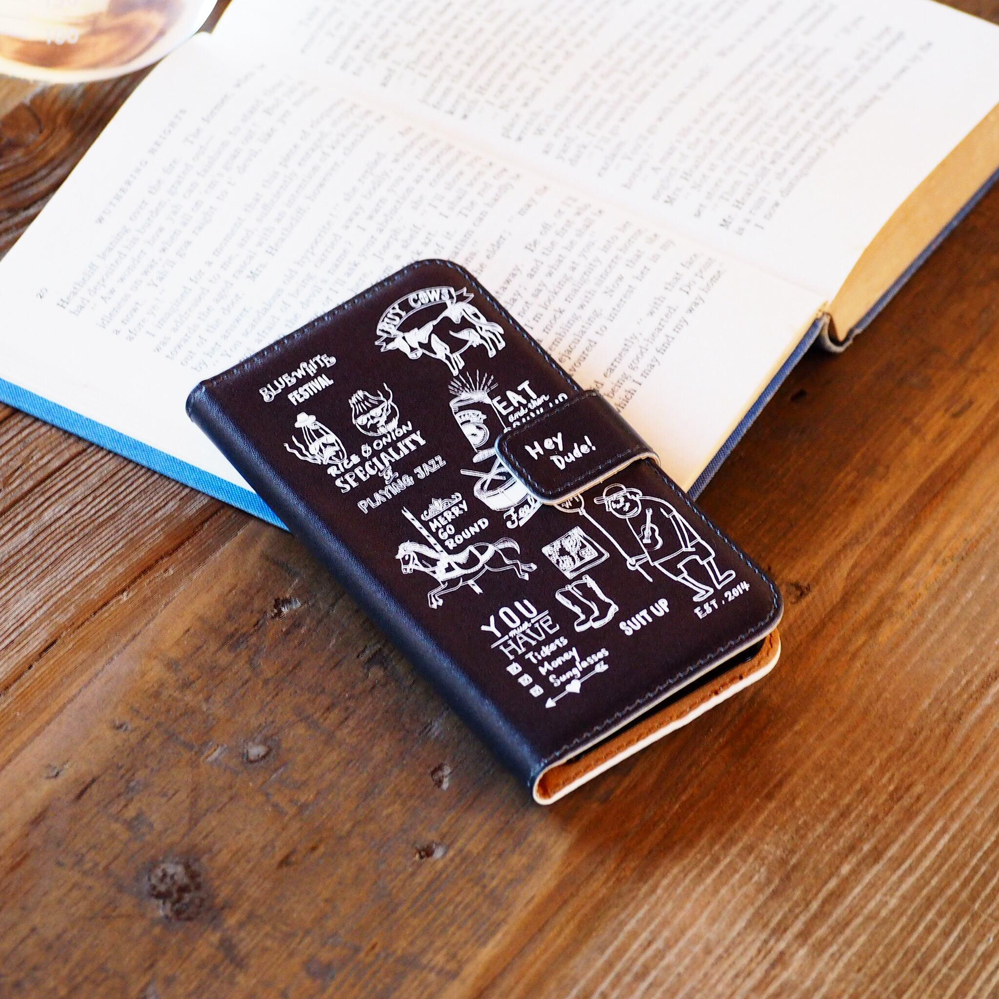 フェスティバル 手帳型スマホケース ブラック