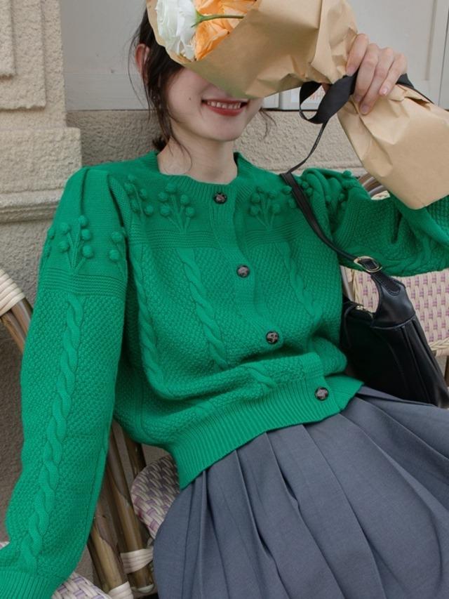 Crochet ponpon cardigan (クロシェットポンポンカーディガン)b-507