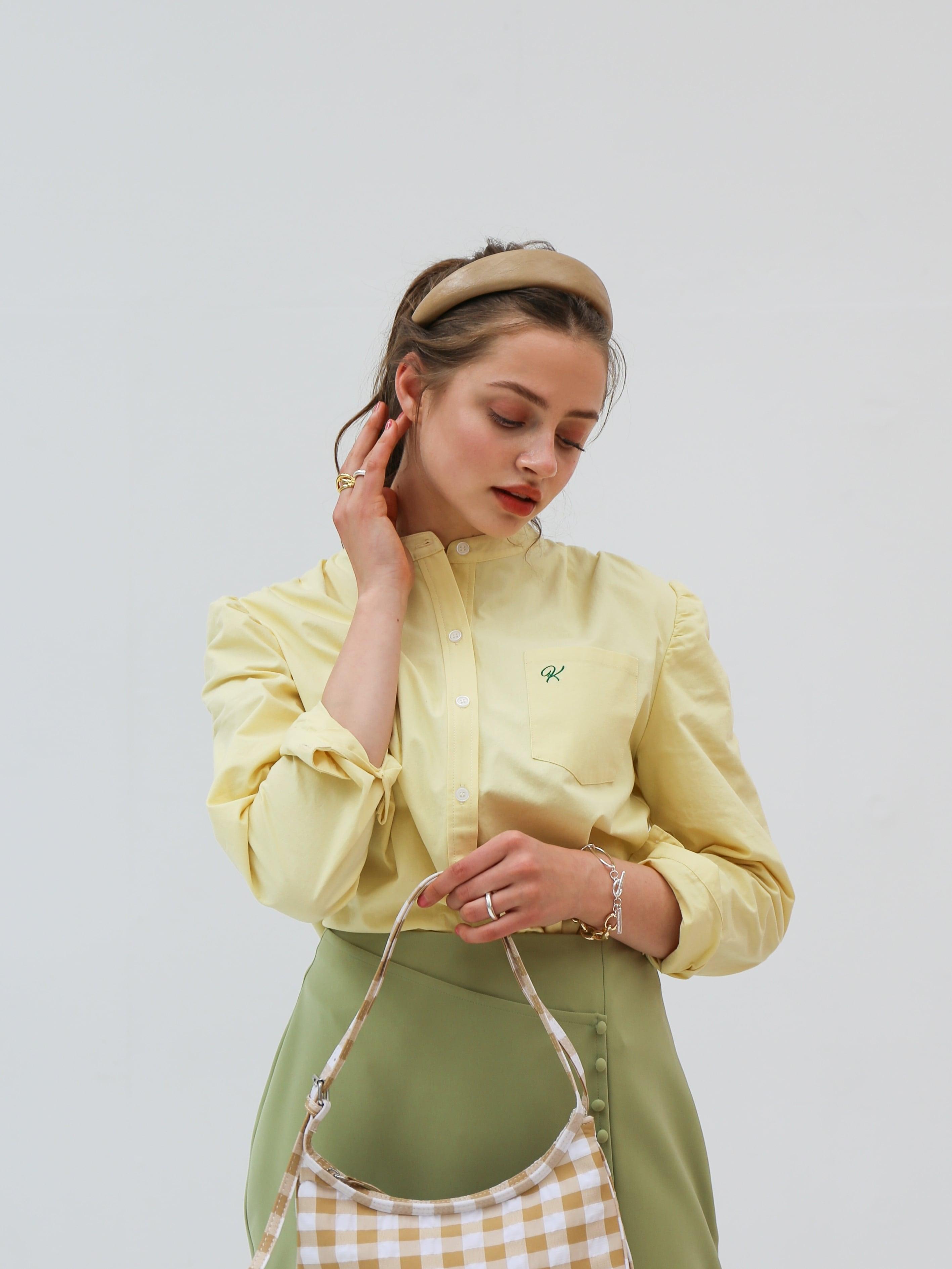 puff sleeve oxford shirt(yellow)