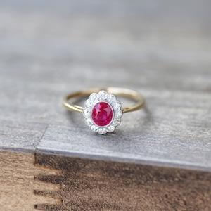 Burma Ruby & Diamond Ring ルビー&ダイヤモンド クラスターリング