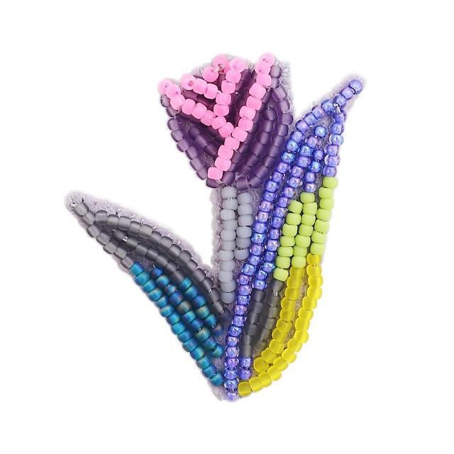 ひびのこづえ ブローチ 「TYURIP」/ ムラサキ ビーズ刺繍 HANAシリーズ KA36-PL
