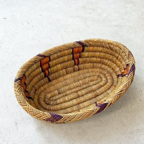 モロッコ 編み込みバスケット 楕円皿 M 柄