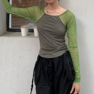 Sheer sleeve shirt(シアースリーブシャツ)b-368