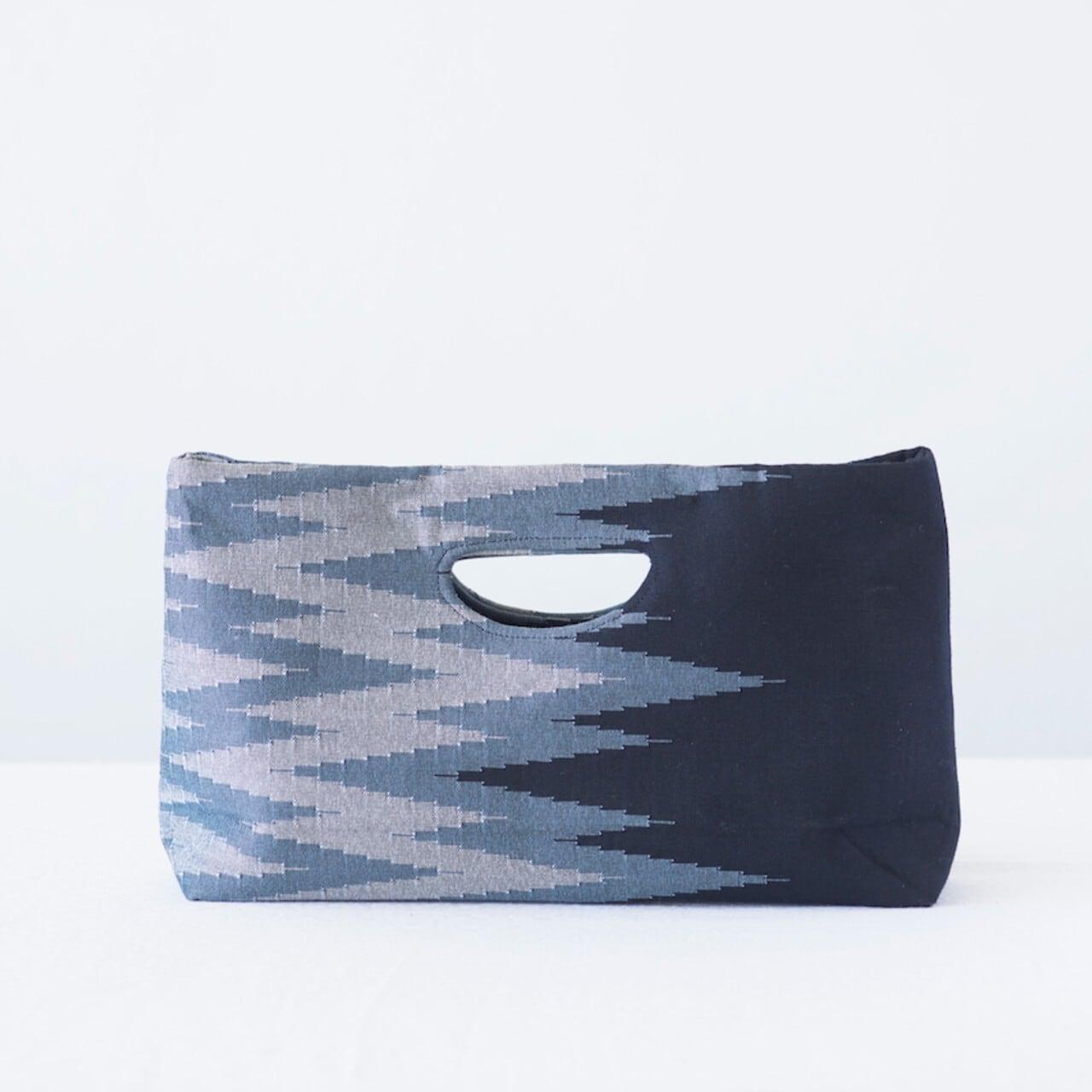 手織りペンシルバッグ ブラック×グレー
