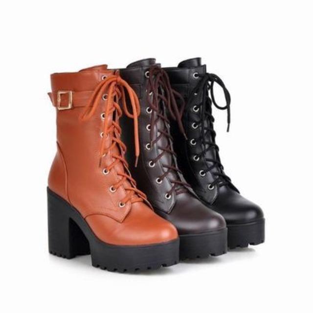 ジュニア~大人サイズ 3カラー★ 厚底 ヒール 編み上げ ショート ブーツ