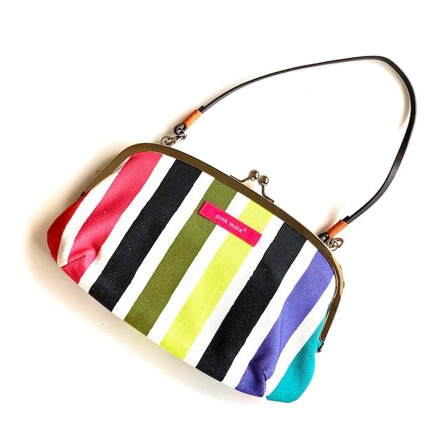 【秀和 x pink india】北欧デザイン ストラップ付がまぐち横長財布 | multi stripe