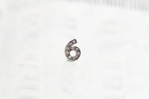 数字 シングルピアス  SV925 Numéro diamant 6