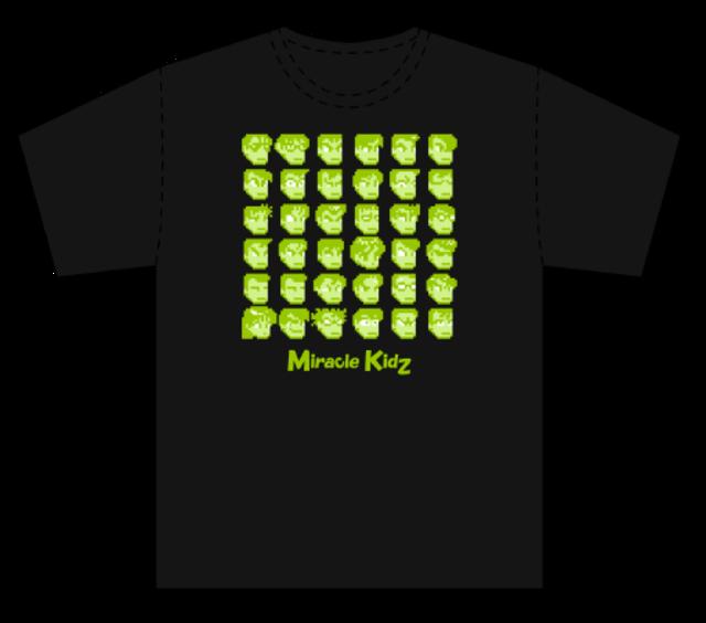 [新品] [アパレル] ダウンタウン全員集合Tシャツ カラー02:必殺ブラックすぺしゃるグリーン / ミラクルキッズ!