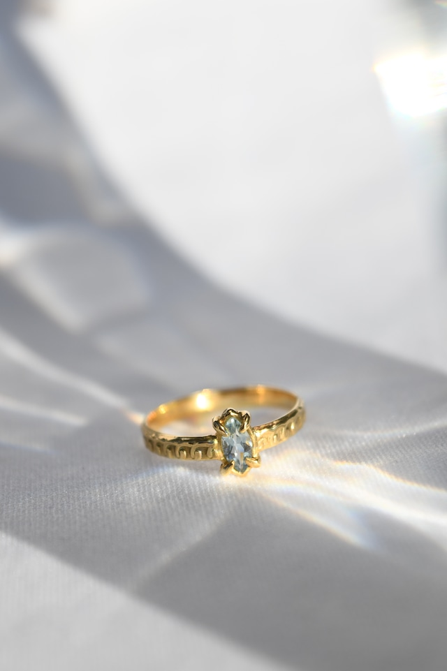 K18 Aquamarine Oriental Design Ring 18金アクアマリンオリエンタルリング