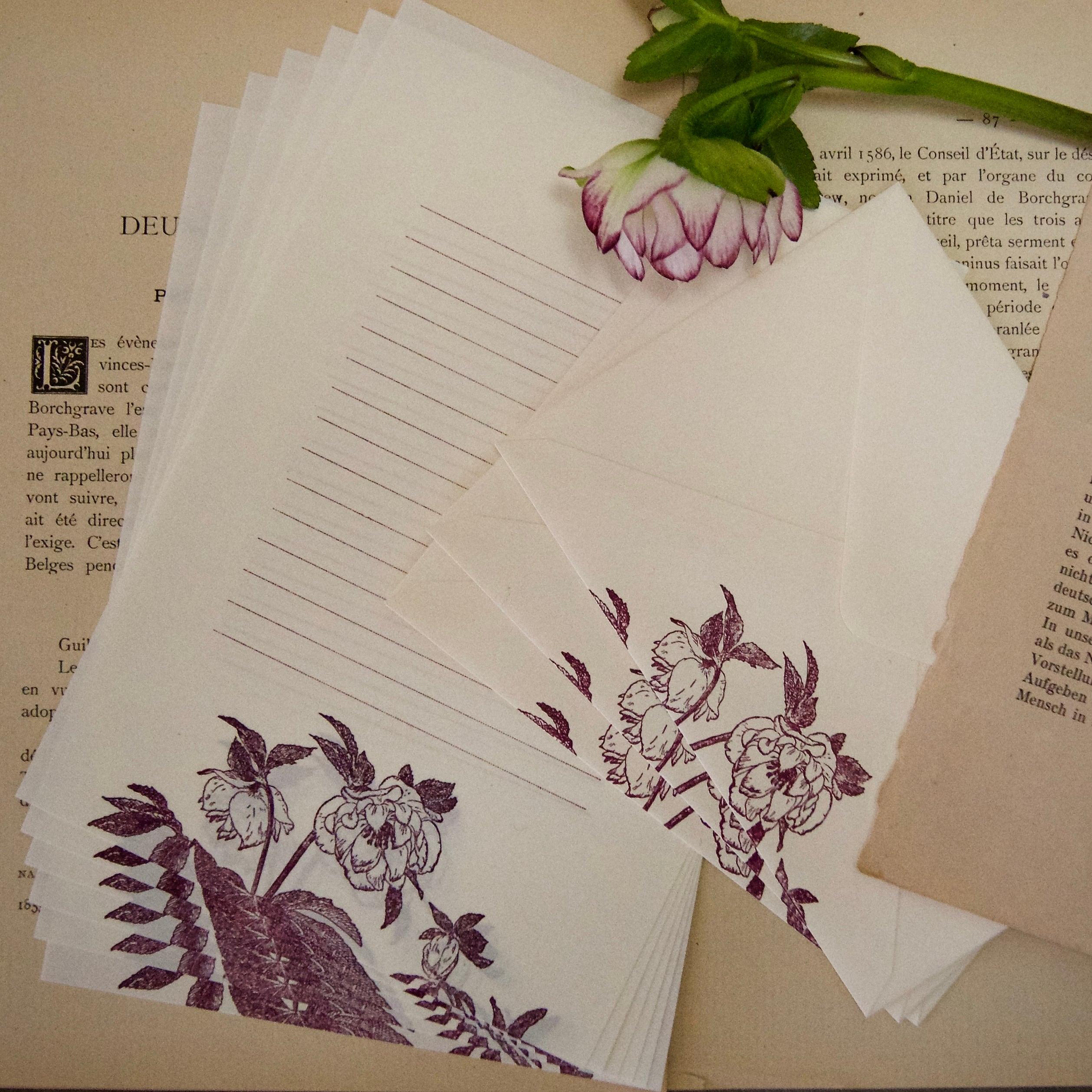 【レターセット】 クリスマスローズB / 便せん6枚+封筒3枚/活版印刷