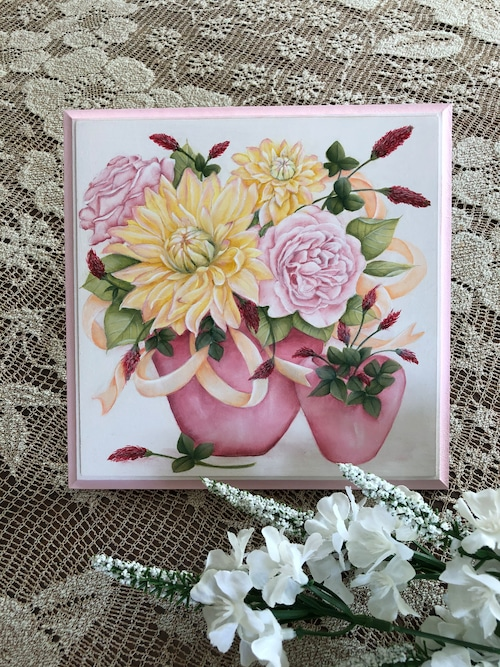 薔薇とダリアとストロベリーキャンドルのプレート
