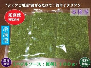和歌山県産生フレッシュバジル使用「本格派バジルソース」100g 【送料無料】【クール便】