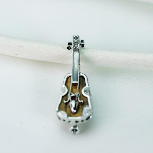 バイオリンブローチ K18WGホワイトゴールド