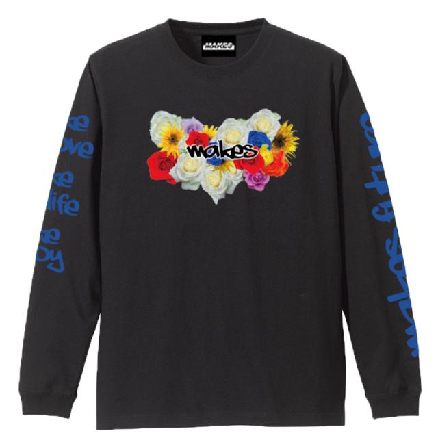 MAKES長袖Tシャツ(FLOWER)5.6オンス ブラック