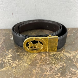 .CELINE CARRIAGE LOGO LEATHER BELT MADE IN ITALY/セリーヌ馬車ロゴレザーベルト 2000000047249
