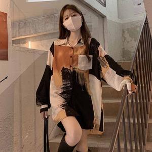 【トップス】レトロ長袖シングルブレストPOLOネックシャツ52631795