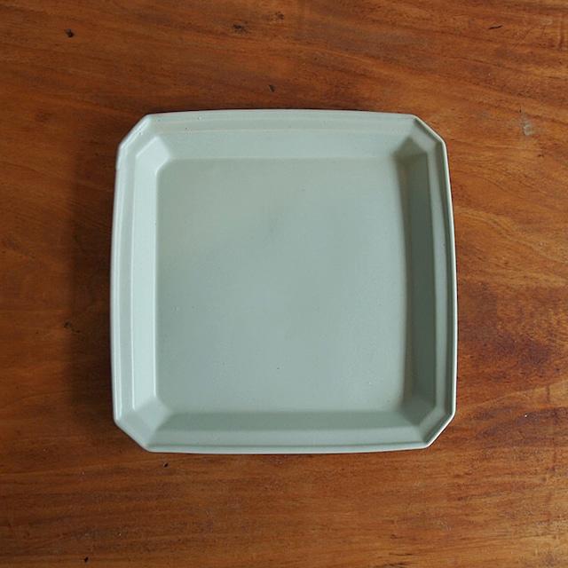 吉田健宗 | 色釉リム角皿(薄緑)