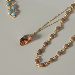 NECKLACE || 【通常商品】 NECKLACE SET 4(dot+stone pink) || 2 NECKLACES || GOLD || FNSAL1205D