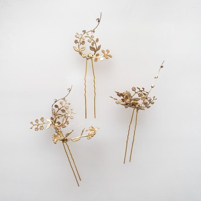 【和装・洋装】ラインストーンgold mini flowerヘッドドレス 【3点セット】