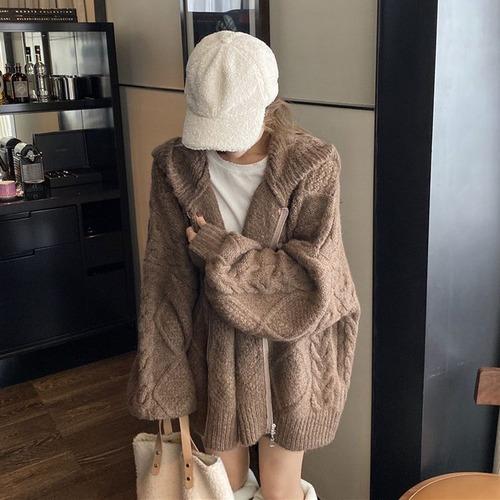 フード付き ニットカーディガン ブラウン 韓国ファッション レディース ケーブル編み ボリューム袖 厚手 オーバーサイズ DTC-608092239442