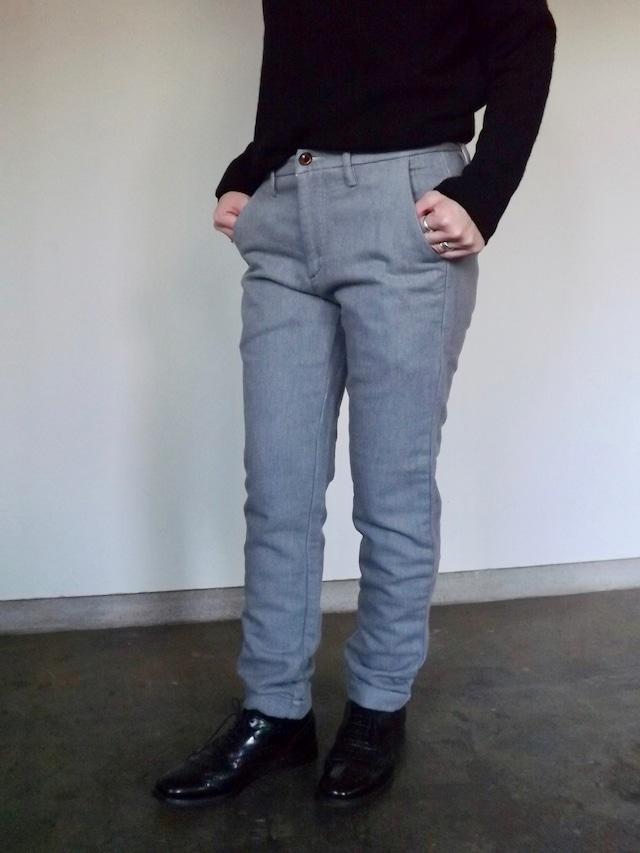 Women {CL007-60} 裾W仕様  ニットデニムパンツ [グレー],日本製, ボーイフレンド,ボーイな女