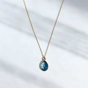 London Blue Topaz Earth Prism Necklace / K10YG