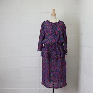 レディース 80年代 USA製 花柄 ペプラムデザイン ワンピース ヴィンテージ アメリカ古着 L 80's Usa Vintage Floral pattern  Dress