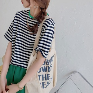 リラックス ボーダー シャツ | ボーダーシャツ 韓国服 カジュアル シンプル Tシャツ カットソー