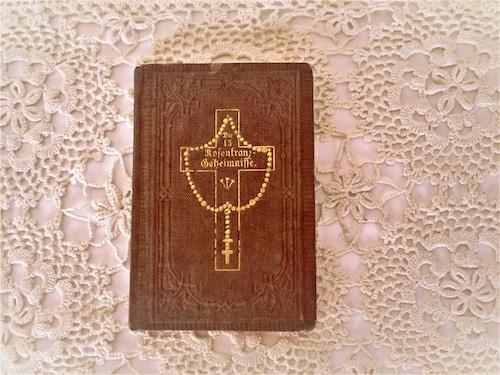 古い祈祷書 聖画  聖書挿絵 宗教画 手のひらサイズ 豆本ドイツカトリック 古い教会 修道院